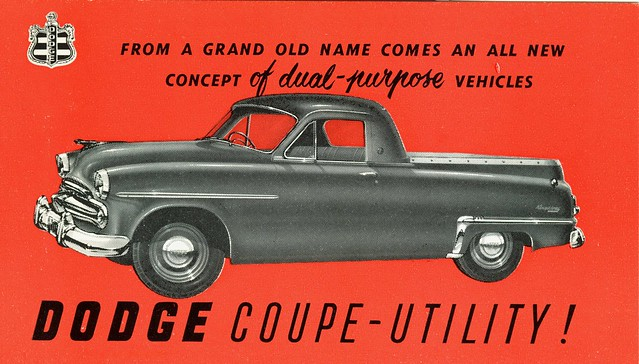 postcard 1954 ute dodge coupeutility