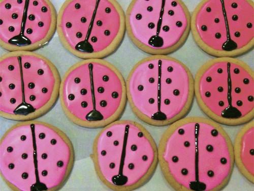 Pink Ladybug Sugar Cookies with Royal Icing