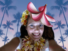 Crazy Tourist (lindilindi) Tags: vacation selfportrait playing silly flower me hat photoshop ga giant fun happy hawaii crazy funny waikiki oahu plumeria album photoshopped nuts free kitsch tourist enjoy tropical corny celebrate playful overboard gitch gettyinvited