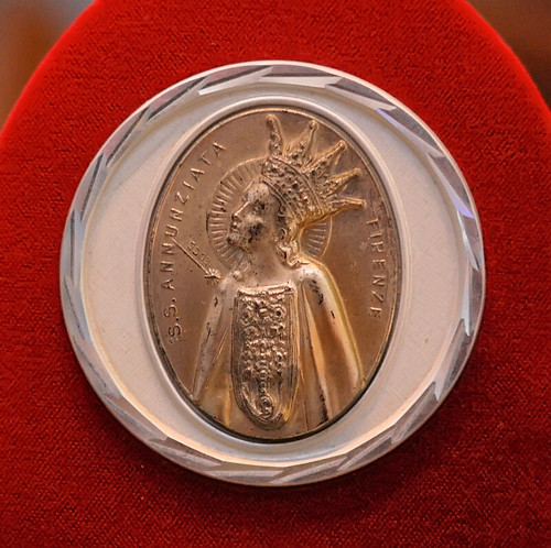 "Silver mounted medal, ""Fiducia mia : My Confidence"", made in Italy, from the collection of the Marianum, photographed at the Cathedral of Saint Peter, in Belleville, Illinois, USA"