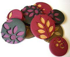 Assorted pendants (Rebecca Geoffrey) Tags: brooch jewelry magnets polymerclay purse pendants