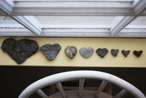 Rocks in the shape of a heart