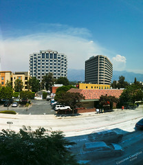 Station Fire from Work, Wednesday Sept 2 (Cameron (and Liz)) Tags: blue sky panorama lake cars clouds fire walnut bluesky intersection forestfire pasadena brushfire angelesnationalforest iphone walnutstreet angelesforest smithbarney conrads pyrocumulus stationfire lakeavenue walnutandlake