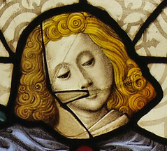 e. Detail from stained glass panel, Museum no. C444-1918.