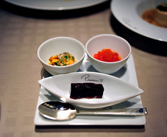 Main Course: Le Bar de Ligne (Three Condiments)