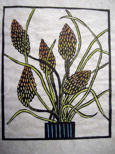 Linoprint Red Hot Pokers