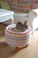 covered stool with hezlein (whereyourheartis) Tags: bunny crochet cover stool grannysquares
