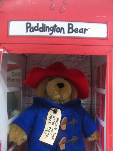 Paddington Bear in a London phone box