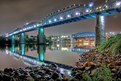 Chattanooga Walking Bridge at Night - HDR (Pheno Me Non) Tags: longexposure bridge reflection chattanooga water architecture night river lights nikon nightshot tennessee johnross nocturne hdr walkingbridge tennesseeaquarium marketstreetbridge d90 photomatix cityparks walnutbridge 8exp tennesseriver downtownchattanooga rosslanding nikond90club