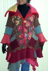 Autumn Floral Sweater Coat (brendaabdullah) Tags: fashion diy construction colorful designer recycled sweaters handmade oneofakind style wearableart etsy multicolor deconstruction sustainable textileart ecofriendly knitwear pieced recycledclothing upcycled machinepieced recycledsweaters sustainablestyle indiefashion restyled ecoconscious sweatercoats brendaabdullah