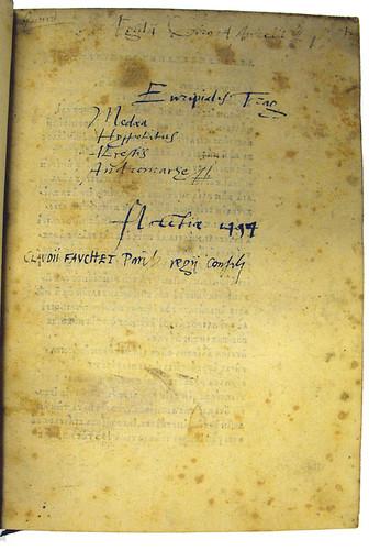 Ownership inscriptions in Euripides: Tragoediae quattuor