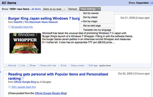 Google Reader Magic Sort