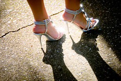 Junior Prom 2010 (StaceyDePhoto) Tags: sun youth silver shoes shiny juniorprom sidewalk teen prom heels stilettos flickrduel