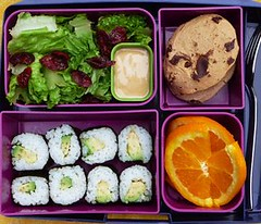 A Bento Favorite (Laptop Lunches) Tags: cookies sushi avocado salad lunchboxes oranges lunches chocolatechipcookie thousandislanddressing laptoplunches broughtmylunch adultlunchboxes ecofriendlylunchbox environmentallyfriendlylunchbox