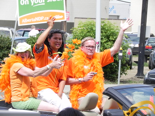 A photo of NDP MLA Rachel Notley and David Eggen in Edmonton's 2011 Pride Parade.