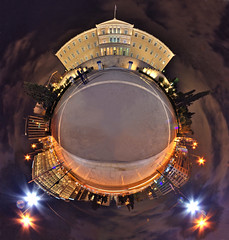 little planet athens - syntagma square at night:  17/365 (helen sotiriadis) Tags: street architecture night canon lights trails parliament athens greece canon350d 365 canonrebelxt hdr syntagma canonefs1022mmf3545usm syntagmasquare photomatix grandebretagne sintagma polarpanorama sintagmasquare littleplanets    toomanytribbles