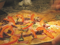 colorful fare (k.m. Hahn) Tags: cheese oven pizza homemade basil redpeppers canadianbacon pizzastone pizzawheel