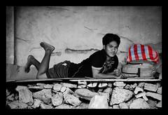 Bedtime Stories (maraculio) Tags: street adam art film smile photography blackwhite backpack photowalk coloring bedtime indios stories spartan selective bedrock sandler flickristasindios maraculio