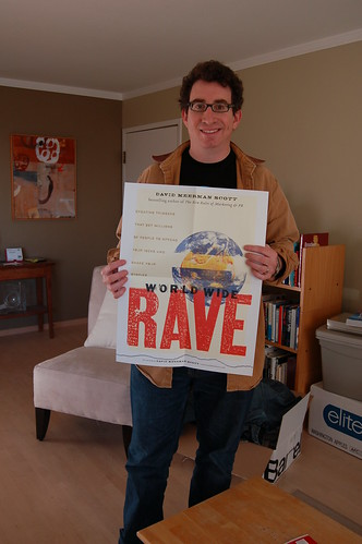 David Spark with the World Wide Rave poster