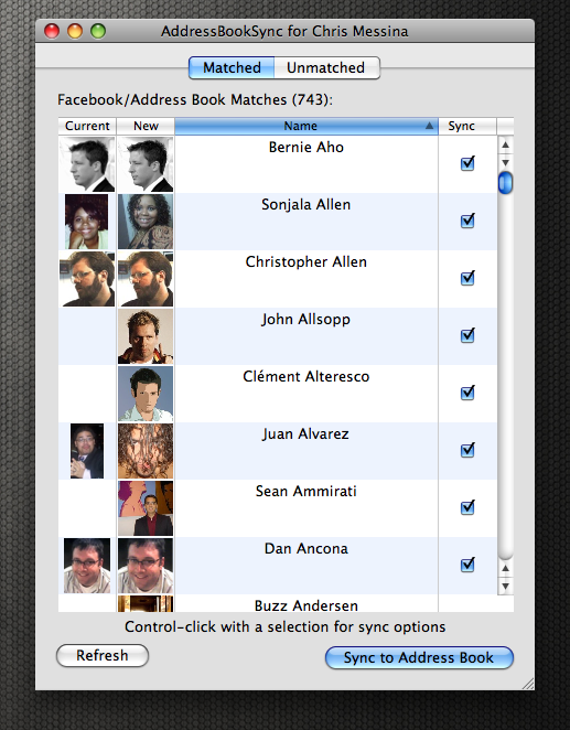 AddressBookSync for Chris Messina