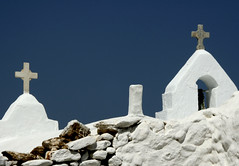 Greek Crosses (Alf's Work) Tags: travel blue sky white holiday church photoshop greek eos 350d cross hellas alf greece mykonos flickraward favemegroup3 asmyers