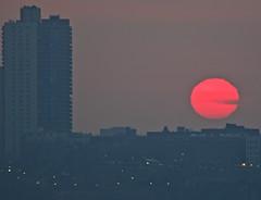 Sunset in a polluted sky (Ed Yourdon) Tags: sunset newyork skyline newjersey raw manhattan pollution hudsonriver