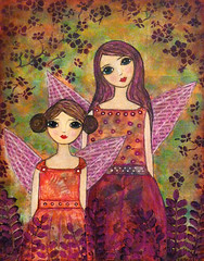 Fairy Painting Mixed Media Art by Sascalia (sascalia) Tags: flowers original trees girls red orange green art nature girl beautiful beauty leaves collage illustration fairytale night sisters garden painting bigeyes wings colorful pretty folkart child purple originalart mixedmedia patterns fantasy magical reddress whimsical faries sascalia