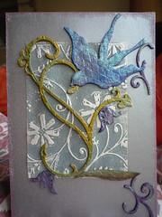 Birthday Card (SparklesStuff) Tags: pink blue flower bird silver leaf swirl birthdaycard twinkling cuttlebug grungeboard 2os tripleembossingpowder timholtzdistressingpowder
