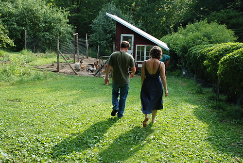 Jeremy and Emily walking toward the chicken house
