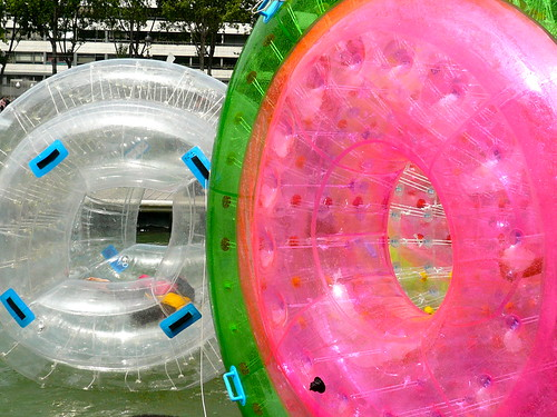 The most successful attraction at Paris Plage on the Bassin de la Villette: water hamster thingy. Photo: JasonW