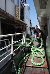 Ferry Personnel (RKLOK) Tags: city summer ferry boats fast istanbul rope tight iskelesi