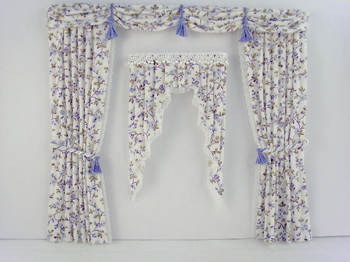 Victorian Dollhouse Miniature Dressing Room Curtains by Deb's Minis