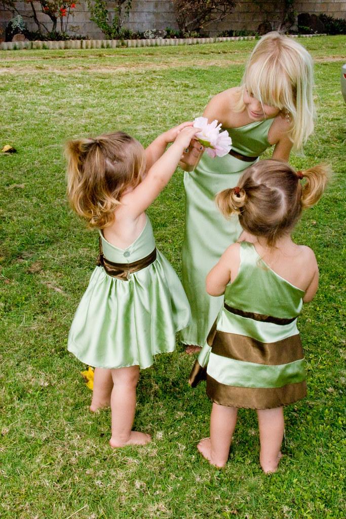 Sage Silk Flower Girl Dresses