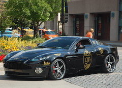 Aston Martin Vanquish S (Austin H.) Tags: black colorado stickers denver co british astonmartin goldrush valet cherrycreek v12 exoticcar customrims cherrycreekmall vanquishs nikond40 smokedtaillights luxury4play