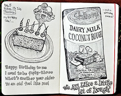 moleskine birthday (petervanallen) Tags: world ocean birthday trip moleskine cake happy milk nikon candles pacific coconut drawing chocolate cookislands rarotonga rough dairy cadburys 54 worldtrip d90 petervanallen wwwpetervanallencom
