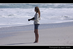 Beach Photographer (J Weeks) Tags: ocean sea woman beach water girl beautiful lady canon southafrica sand pretty photographer legs candid longhair capetown foam shorts atlanticocean westerncape bigbay 50d beachcandid derdesteen
