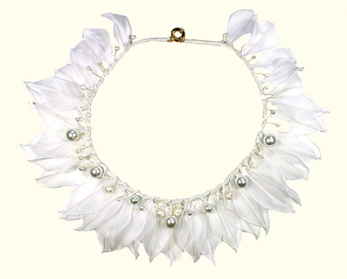whitemaasai necklace organza leaves and freshwater pearls - amanda pearl