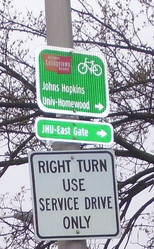 Baltimore Collegetown Bicycle Route sign (cropped)