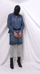 6513 (blackknot100) Tags: tv boots cd bondage skirt crossdressing jeans heels masked collar bound crossdresser handcuffs chained restrained leggins ankleboots legiron prisonbelt