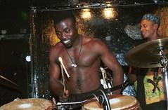 Mac Tontoh Project from Ghana at the Africa Centre London Nov 2000 043 drummer-ok (photographer695) Tags: world nov africa from music london mac 2000 african centre band jazz ghana warriors ashanti kete trumpeter amanas osibisa tontoh nanaeba exosibisa