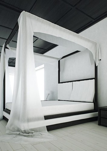 Wind Bed – Modern Canopy Bed in Black and White