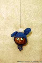 Crochet bunny conker (bocozoo) Tags: pink blue brown cute bunny green nature hat animal kids garden toy nose zoo eyes funny punk soft symbol handmade small crochet craft ears cap gift staring hang conker earflap bocozoo