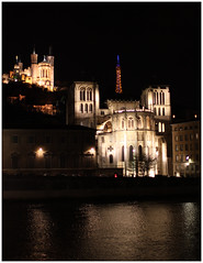 Fourviere - Lyon, France (Jaafar Mestari) Tags: light france building architecture night canon eos construction lyon may cropped untouched nuit immeuble batiment 2010 noediting quais saone reframed 50d justcropped canoneos50d canonef28mmf18