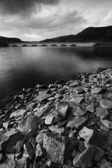 Bridge across the lake at Ladybower (PeteHenderson) Tags: uk bridge blackandwhite bw lake water clouds blackwhite derbyshire reservoir ladybower blackwhitephotos
