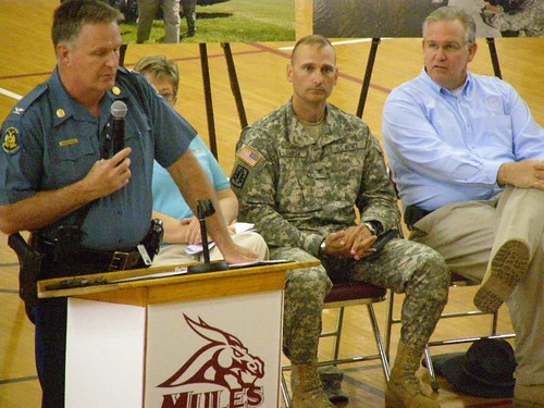 Colonel Ron Replogle with Missouri Highway Patrol, Colonel Glenn Hagler with Missouri National Guard and Governor Jay Nixon at the Poplar Bluff, MO. meeting