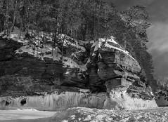 Apostle Island Winter Lakeshore - B&W (Call_Me_Josh) Tags: winter blackandwhite snow ice wisconsin portfolio lakesuperior apostleislandnationalpark