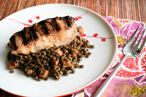 Grilled Mahi over Curried Lentils