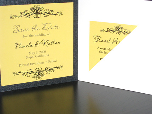 Ornamental Black, Yellow And White Invitations