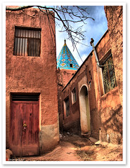In That Alley (1Ehsan) Tags: blue red tree window alley iran mosque abyaneh esfahan hdr isfahan iranmapcom