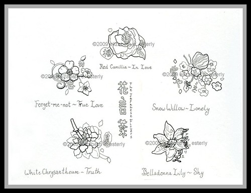 tattoo flash flowers. Tattoo Flash: Hanakotoba
